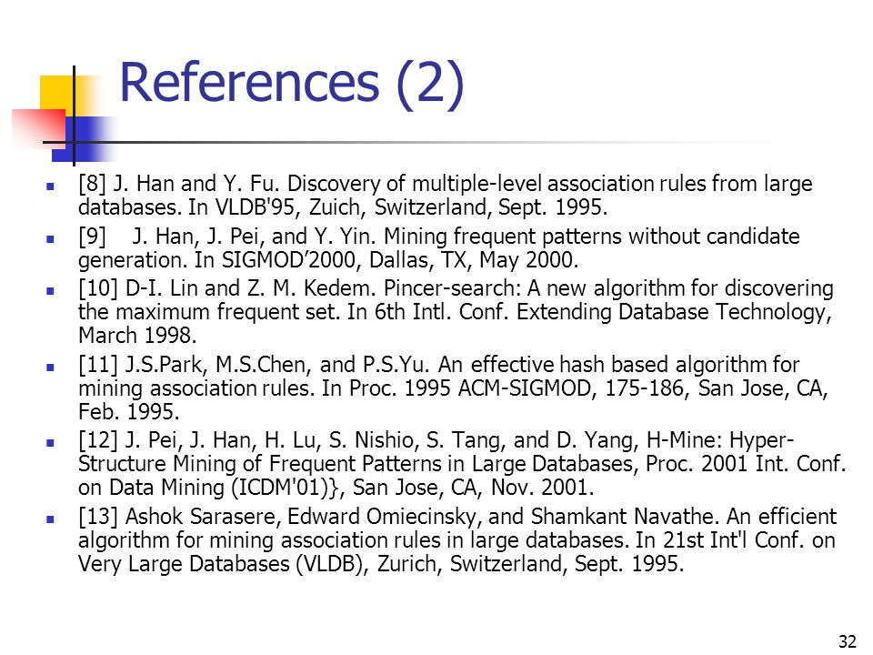 References (2) [8] J. Han and Y. Fu. Discovery of multiple-level association rules from large databases. In VLDB 95, Zuich, Switzerland, Sept. 1995.